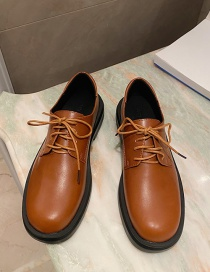 Fashion Brown Low-heel Lace-up Round Toe Shoes