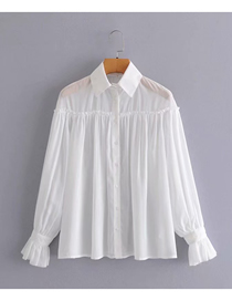 Fashion White Blended Raglan Stitching Flared Sleeve See-through Shirt