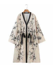 Fashion Khaki Long Printed Drawstring V-neck Shawl
