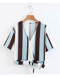 Fashion Blue Brown Stripes Striped Tie Short Sleeve Top