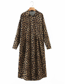 Fashion Leopard Printed Loose Shirt Dress