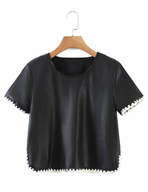 Fashion Black Round Neck Knitted Short Sleeve Top