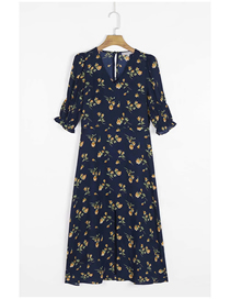 Fashion Navy Blue Floral Floral Print Split Short Sleeve Dress