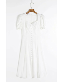 Fashion White Low Neck Single Breasted Short Sleeve Dress