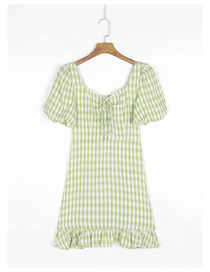 Fashion Green Plaid Square Neck Short Sleeve Dress