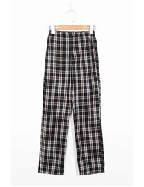 Fashion Black Plaid Check Loose Wide-leg Trousers