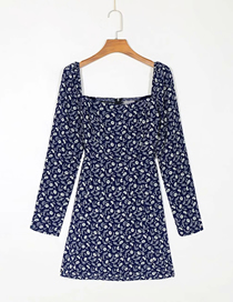 Fashion Navy Blue Floral Floral Print Square Neck Long Sleeve Dress