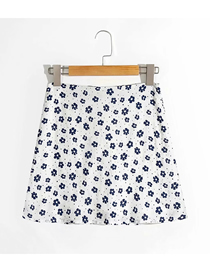 Fashion White Flowers Floral Print Slim Skirt