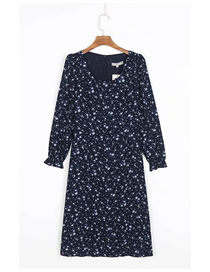 Fashion Navy Blue Floral Floral Print Long Sleeve Dress