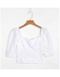 Fashion White Square Collar Pleated Short Sleeve Top