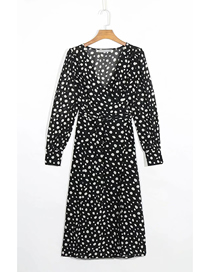 Fashion Black Dots Polka Dot Print V-neck Long Sleeve Dress