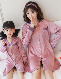 Fashion Mom Hits The Color Chestnut Purple Ice Silk Printed Shirt-style Parent-child Nightdress Home Wear