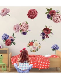 Fashion 25*70cmx2 Piece Set Hand-painted Peony Rose Flower Wall Sticker Removable Decorative Painting