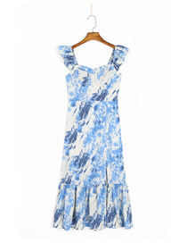Fashion Blue Blooming Ruffled Print Dress