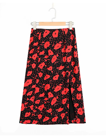 Fashion Red Flowers Flower Print Slit Skirt