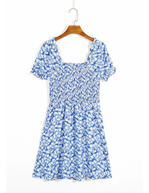 Fashion Blue Floral Print Stretch Short Sleeve Dress