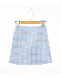 Fashion Blue Plaid Slim Skirt