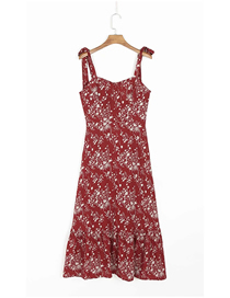 Fashion Red Floral Print Suspender Dress