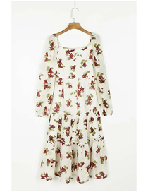 Fashion White Grapes Grape Print Long Sleeve Dress