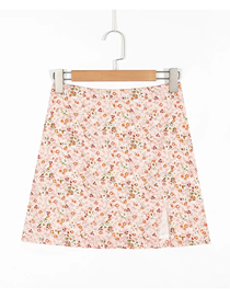 Fashion Pink Floral Floral Print Slit Skirt