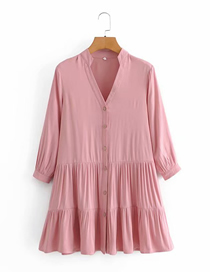 Fashion Pink Solid Color V-neck Loose Three-quarter Sleeve Dress