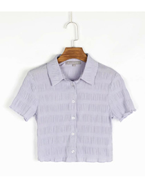 Fashion Purple Check Print Lapel Single-breasted Shirt