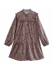 Fashion Printing Leopard Print Single-breasted Dress