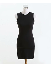 Fashion Black Solid Color Sleeveless Backless Slim Dress
