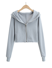 Fashion Blue Solid Color Zipper Hooded Long Sleeve Sweater