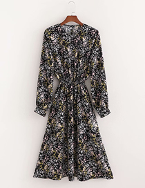 Fashion Printing Flower Print Waist Long Sleeve Dress