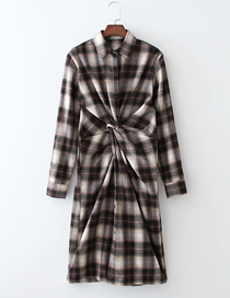 Fashion Lattice Cross-knotted Plaid Dress