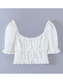 Fashion White Puff Sleeve Hollow Lace Top
