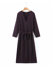 Fashion Black Solid Color V-neck 3/4 Sleeve Belt Dress