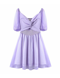 Fashion Purple Twisted Puff Sleeve Dress