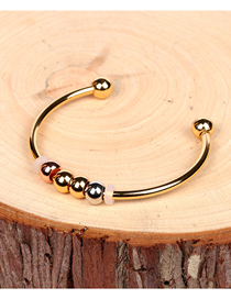 Fashion Golden Copper Gilded Bead Round Open Bracelet