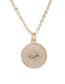 Fashion Golden Copper Inlaid Zircon Eye Necklace