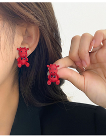 Fashion Red Calf Resin Alloy Earrings