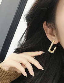 Fashion Golden Geometric Carved Square Earrings