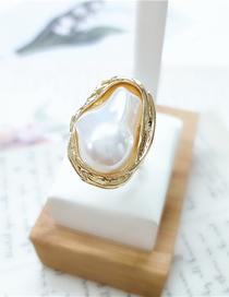 Fashion White Pearl Geometric Open Ring