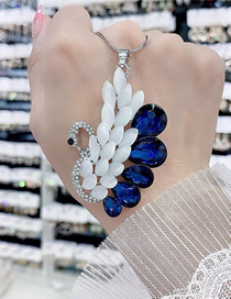 Fashion Blue Swan Alloy Necklace With Gems