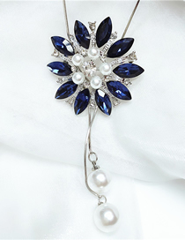 Fashion Blue Diamond Flower Pearl Alloy Necklace