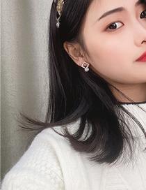 Fashion Yellow Square Diamond Alloy Earrings