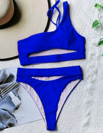 Fashion Navy Blue Solid Color Hollow One-shoulder Tether One-piece Swimsuit
