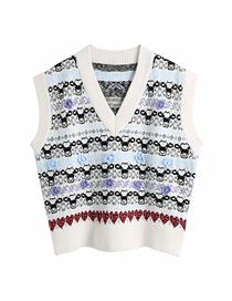 Fashion Photo Color Flower Jacquard Pullover V-neck Loose Sweater Knitted Vest