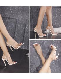 Fashion White Transparent Word Rhinestone High Heel Sandals