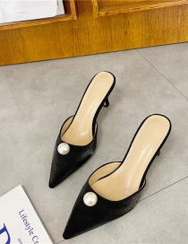 Fashion Black Pointed Toe Without Heels One Foot Toe Cap Half Slippers