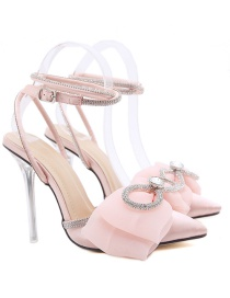Fashion Pink Pointed Bow High-heeled Toe Cap Stiletto Sandals