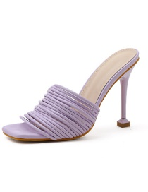 Fashion Purple Slim Strap Large Size High Heel Sandals And Slippers
