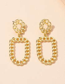Fashion Gold Color Chain Geometric Alloy Hollow Earrings