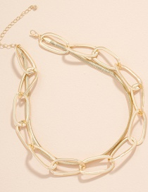 Fashion Gold Color Snake Bone Chain Geometric Alloy Multilayer Necklace